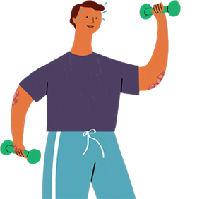 Illustration of a psoriasis patient exercising