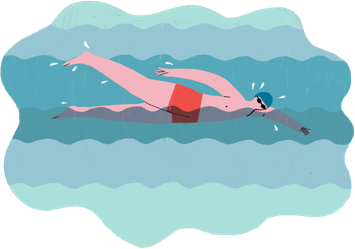 Illustration of a person with psoriasis exercising in a pool