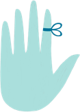 Illustration of hand with bow tied around index finger