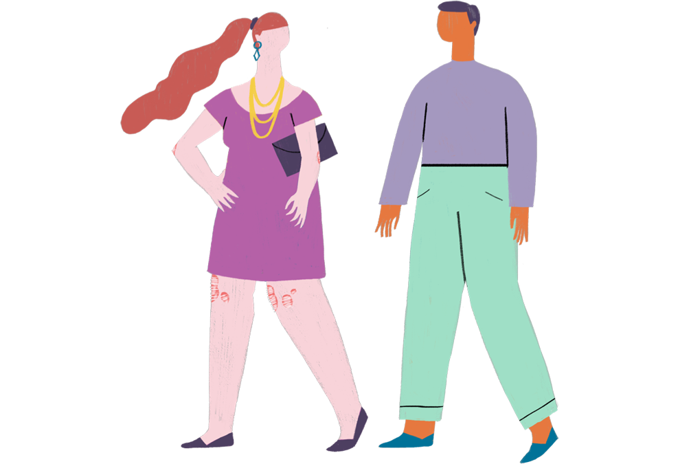 Illustration of two people walking together