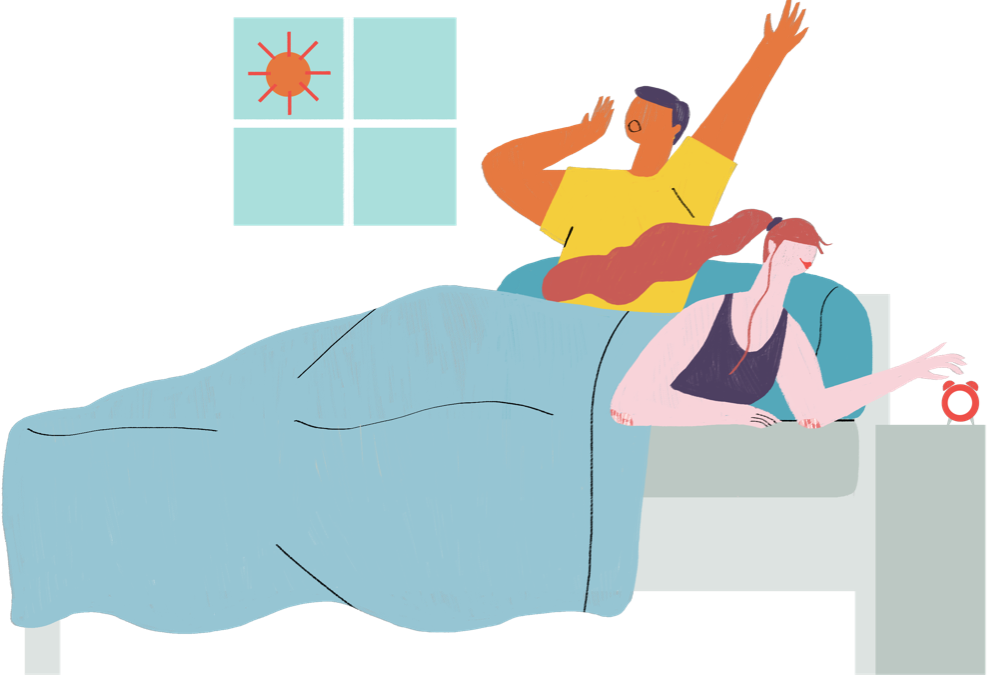 Illustration of two people waking up