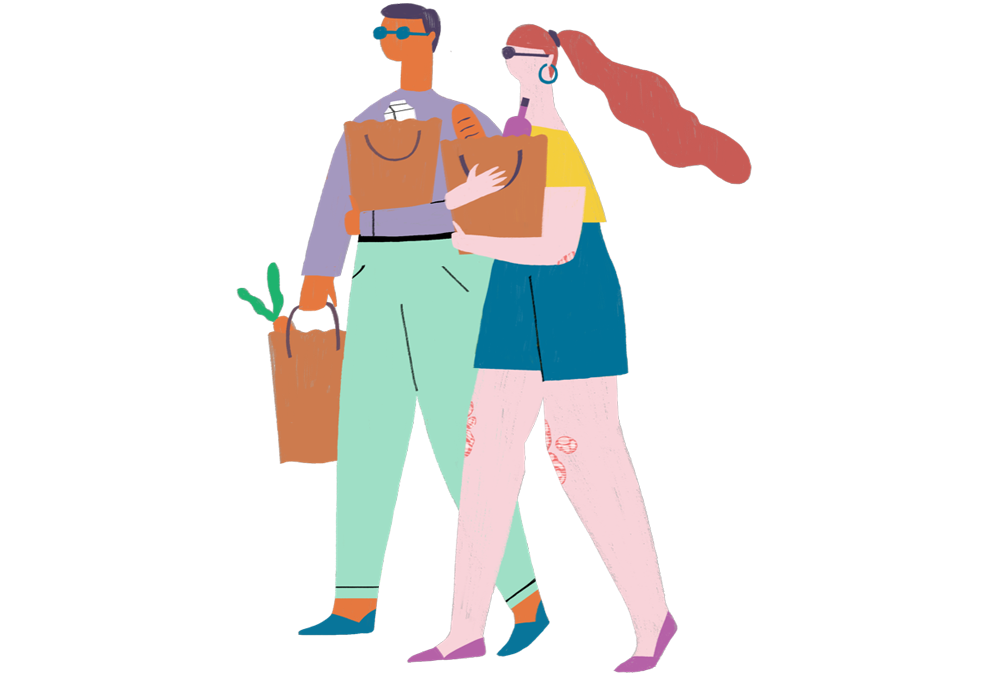 Illustration of two people carrying in groceries together