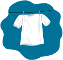 Illustration of a white t-shirt on a clothes line