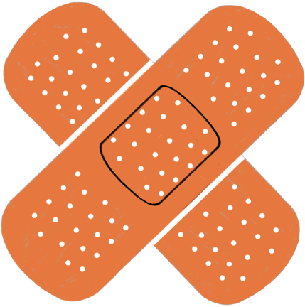 Two bandages crossing into an X shape