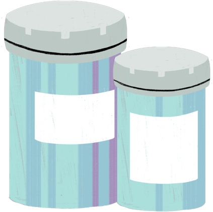 Illustration of two pill bottles