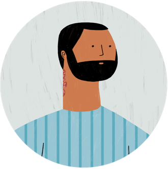 Illustration of a person with psoriasis feeling stressed