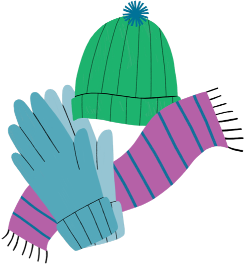 Illustration of a hat, gloves, and scarf