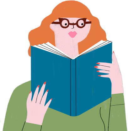 Illustration of a person reading about psoriasis comorbidities