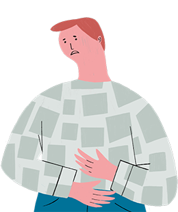 Illustration of a person holding their stomach