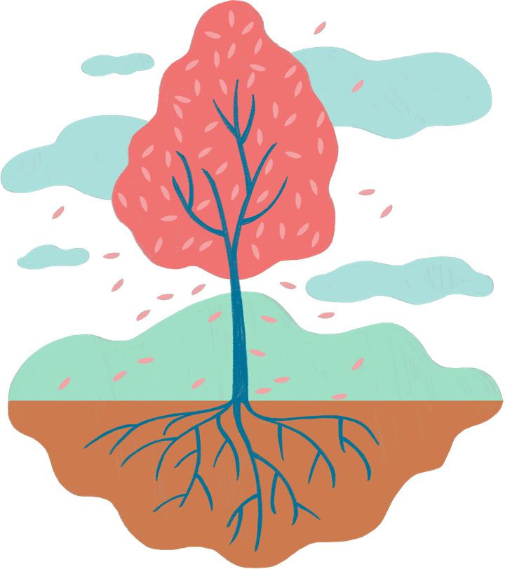 Illustration of a tree representing the roots of psoriasis