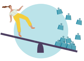 Illustration of a person on a seesaw