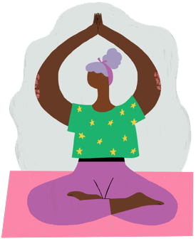Illustration of a person with psoriasis doing yoga