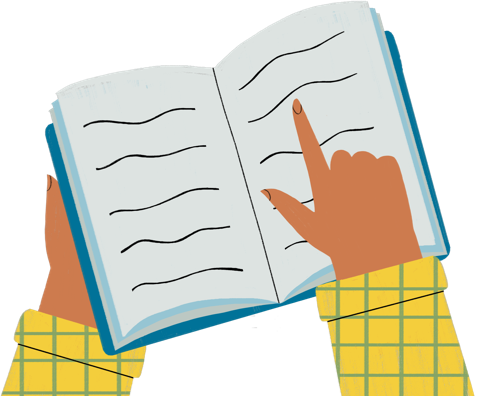 Illustration of a book representing more psoriasis info
