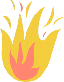 Illustration of a fire symbolizing a psoriasis flare-up