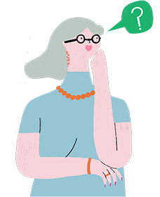 Illustration of a person with questions about psoriasis symptoms