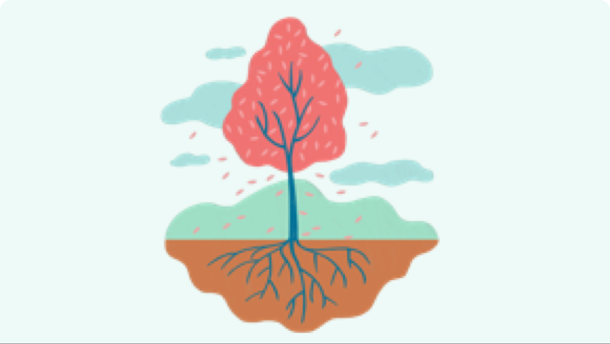 A graphic of a tree representing the roots of psoriasis are in inflammation