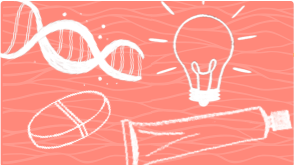 Illustration of a DNA gene and light bulb representing psoriasis treatment options