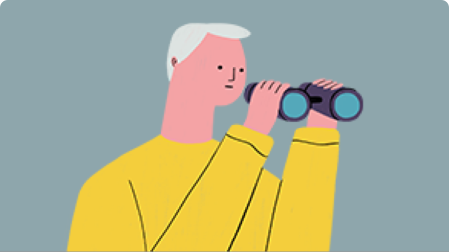 Illustration of person using binoculars to represent finding a dermatologist
